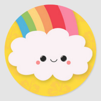 Happy Rainbow Cloud on Yellow Classic Round Sticker