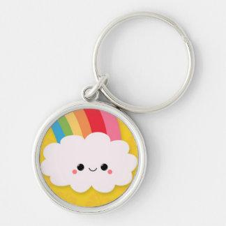 Happy Rainbow Cloud on Yellow Keychain