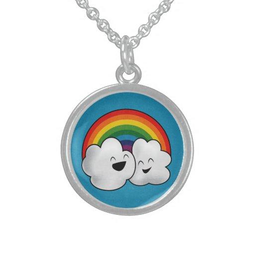 Happy Rainbow Clouds Round Pendant Necklace