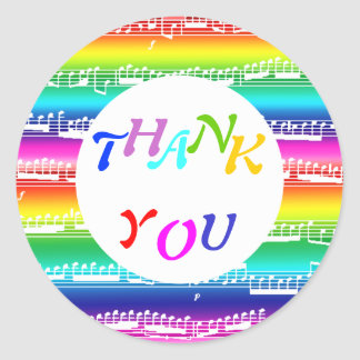 happy rainbow colorful music thank you stickers