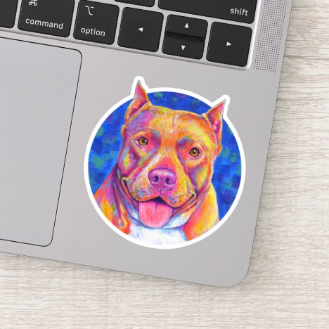 Happy Rainbow Pitbull Dog Vinyl Sticker