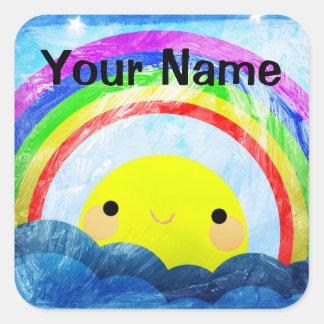 Happy Rainbow Square Sticker
