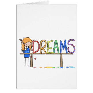 Happy Rainbow Whimsical Dreams Stick Figure Artist Card