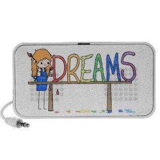 Happy Rainbow Whimsical Dreams Stick Figure Artist Mp3 Speaker