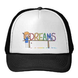 Happy Rainbow Whimsical Dreams Stick Figure Artist Trucker Hat