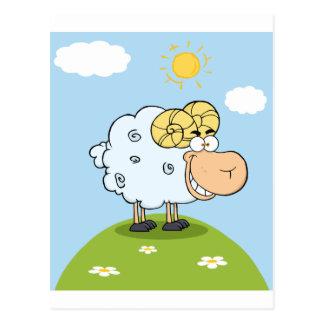 Happy Ram Cartoon Mascot Postcard
