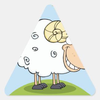 Happy Ram Cartoon Mascot Triangle Sticker