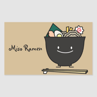 Happy Ramen Bowl Rectangular Sticker