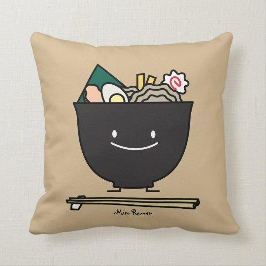 Happy Ramen Bowl Throw Pillow