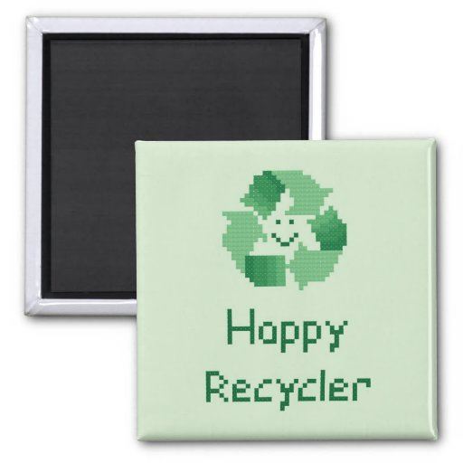 Happy Recycler Cross Stitch Pattern 2 Inch Square Magnet