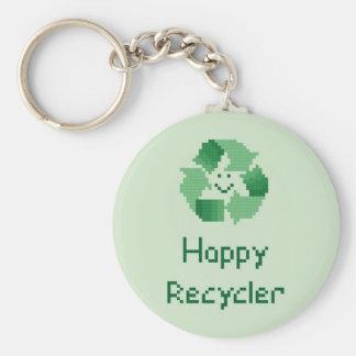 Happy Recycler Cross Stitch Pattern Basic Round Button Keychain