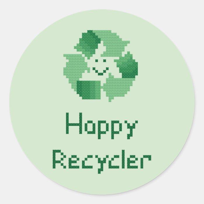 Happy Recycler Cross Stitch Pattern Classic Round Sticker