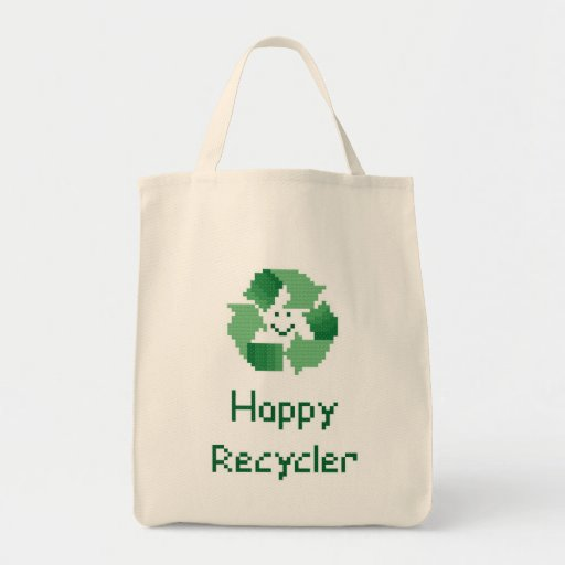 Happy Recycler Cross Stitch Pattern Tote Bag