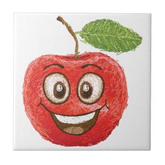 happy red apple fruit ceramic tile