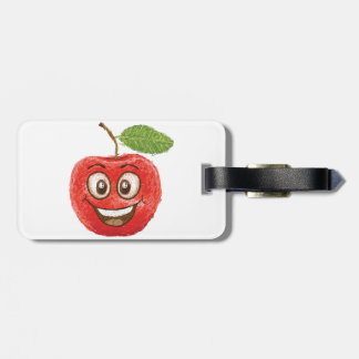 happy red apple fruit luggage tag