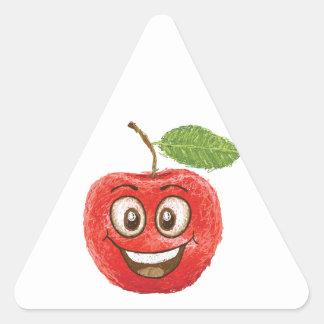 happy red apple fruit triangle sticker