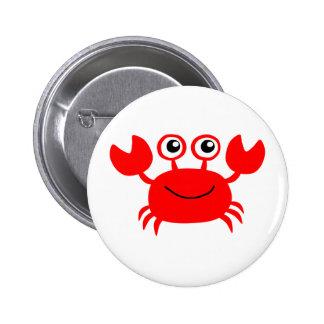 Happy Red Cartoon Crab Pinback Button
