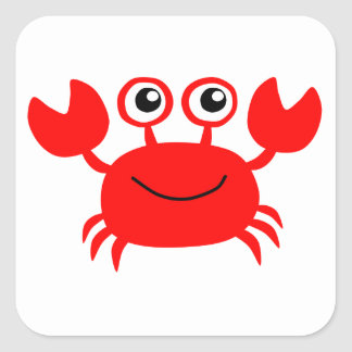 Happy Red Cartoon Crab Square Sticker