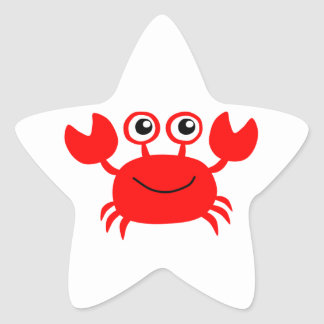 Happy Red Cartoon Crab Star Sticker