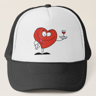 Happy Red Heart Serving A Glass Of Red Wine Trucker Hat
