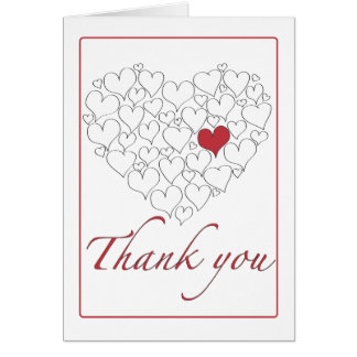 Happy Red Heart Thank You Stationery Note Card