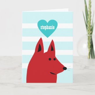 Happy Red Love Dog Card card