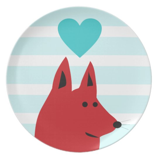 Happy Red Love Dog Plate