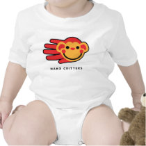 Hand shaped Happy Red Monkey Smiley Face baby t-shirt bodysuit