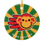 Hand shaped Happy Red Monkey Smiley Face Ceramic Ornament