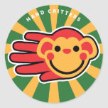 Hand shaped Happy Red Monkey Smiley Face Classic Round Sticker