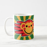 Hand shaped Happy Red Monkey Smiley Face Coffee Mug