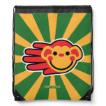 Hand shaped Happy Red Monkey Smiley Face Drawstring Backpack