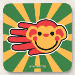 Hand shaped Happy Red Monkey Smiley Face Drink Coaster