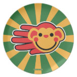 Hand shaped Happy Red Monkey Smiley Face Melamine Plate