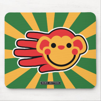Happy Red Monkey Smiley Face Mouse Pad