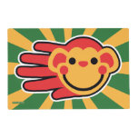 Hand shaped Happy Red Monkey Smiley Face Placemat