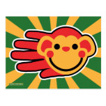 Hand shaped Happy Red Monkey Smiley Face Postcard