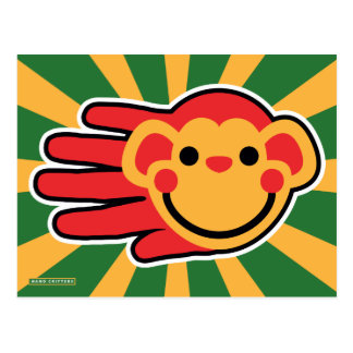 Happy Red Monkey Smiley Face Postcard