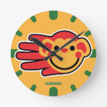 Hand shaped Happy Red Monkey Smiley Face Round Clock
