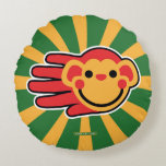 Hand shaped Happy Red Monkey Smiley Face Round Pillow
