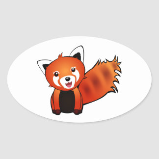 Happy Red Panda Oval Sticker
