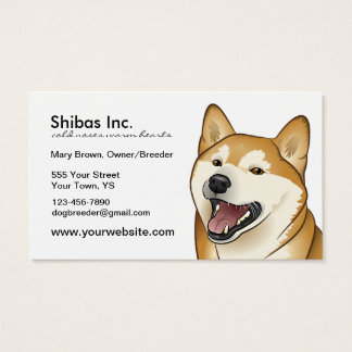 Happy Red Shiba Inu Customizable Business Card