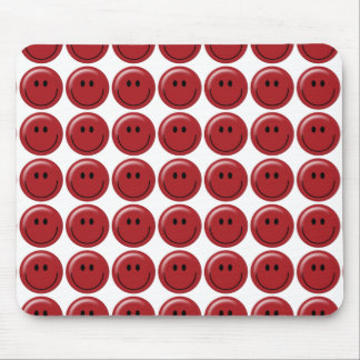 Happy red smiley face mouse pad