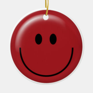 Happy red smiley face round ornament