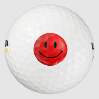 Happy Red Smiley Golf Ball