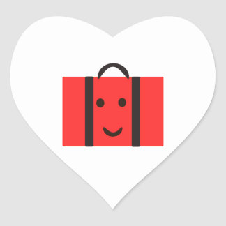 happy Red suitcase Heart Sticker
