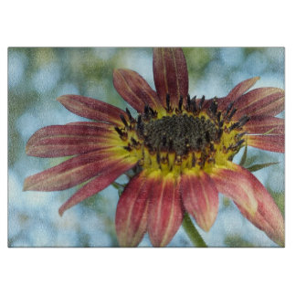 Happy Red Sunflower Glass Cutting Board