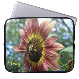 Happy Red Sunflower N Bee Laptop Sleeve
