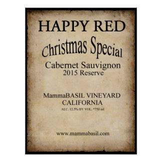 Happy Red Wine Christmas Poster! Poster