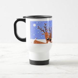 Happy Reindeer Christmas Lights Antlers Coffee Mugs